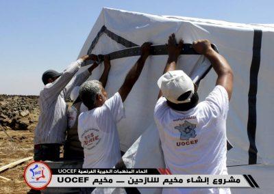 Construction de tentes structures bois dans les camps de réfugiés